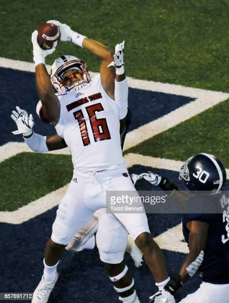Tight end Blake Mack of the Arkansas State Red Wolves pulls down a touchdown reception against the Georgia Southern Eagles at Paulson Stadium on...