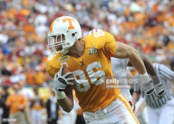 Tight end Brad Cottam of the Tennessee Volunteers rushes with a pass against the Wisconsin Badgers in the 2008 Outback Bowl at Raymond James Stadium...