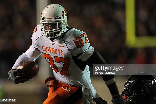 Tight end Brandon Pettigrew of the Oklahoma State Cowboys during play against the Texas Tech Red Raiders at Jones ATT Stadium on November 8 2008 in...