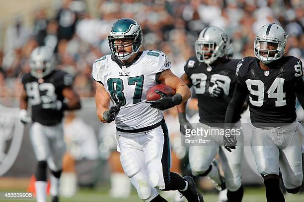 Tight end Brent Celek of the Philadelphia Eagles runs with a catch for 24yards against the Oakland Raiders in the second quarter on November 3 2013...
