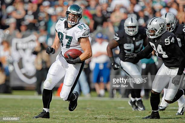 Tight end Brent Celek of the Philadelphia Eagles turns with a catch for 24yards against the Oakland Raiders in the second quarter on November 3 2013...