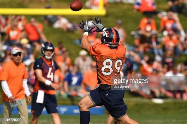 tight end Brian Parker makes a catch during Denver Broncos training camp at the UCHealth Training Center August 14 2018 in Englewood Colorado