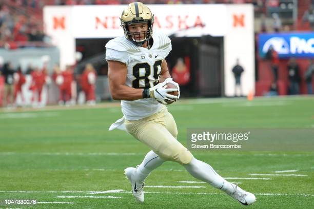 Tight end Brycen Hopkins of the Purdue Boilermakers runs after a catch against the Nebraska Cornhuskers at Memorial Stadium on September 29 2018 in...
