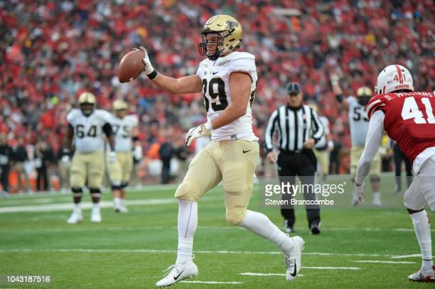 Tight end Brycen Hopkins of the Purdue Boilermakers steps into the end zone for a touchdown in the second half against the Nebraska Cornhuskersat...