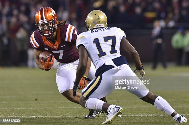Tight end Bucky Hodges of the Virginia Tech Hokies carries the ball following his reception against the Georgia Tech Yellow Jackets in the second...