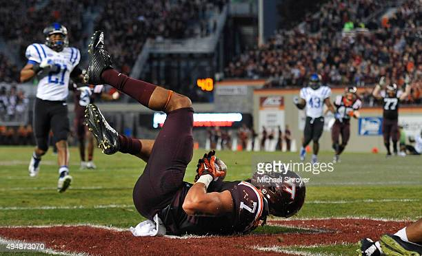 Tight end Bucky Hodges of the Virginia Tech Hokies catches a touchdown pass against the Duke Blue Devils in the fourth quarter at Lane Stadium on...