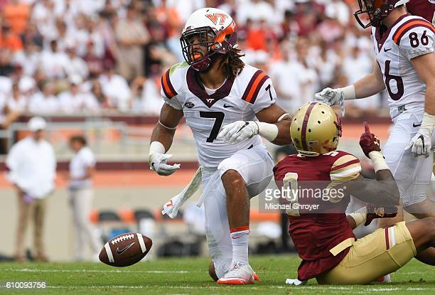 Tight end Bucky Hodges of the Virginia Tech Hokies reacts following his reception against the Boston College Eagles in the first half at Lane Stadium...