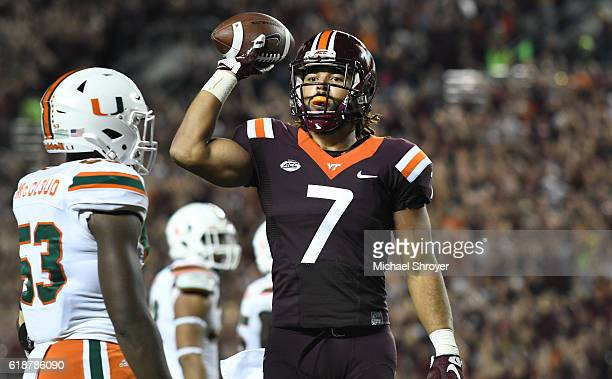 Tight end Bucky Hodges of the Virginia Tech Hokies reacts following his touchdown reception against the Miami Hurricanes in the first half at Lane...