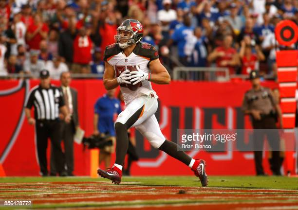 Tight end Cameron Brate of the Tampa Bay Buccaneers hauls in a 14-yard touchdown pass from quarterback Jameis Winston during the fourth quarter of an...