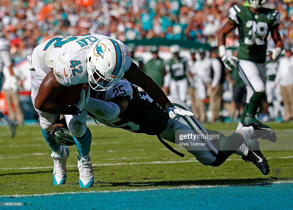 Tight end Charles Clay #42 of the Miami Dolphins scores a touchdown in the second quarter as free safety Calvin Pryor #25 of the New York Jets defends during a game at Sun Life Stadium on December 28, 2014 in Miami Gardens, Florida.