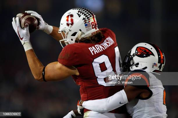 Tight end Colby Parkinson of the Stanford Cardinal catches a 28 yard pass for a touchdown in front of cornerback Dwayne Williams of the Oregon State...