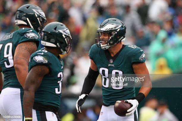 Tight end Dallas Goedert of the Philadelphia Eagles celebrates a catch for a touchdown against the Indianapolis Colts in the first quarter at Lincoln...