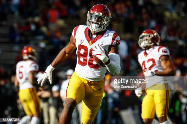 USC tight end Daniel Imatorbhebhe catches a pass during warmups before the Colorado Buffalos game versus the USC Trojans on November 11 at Folsom...