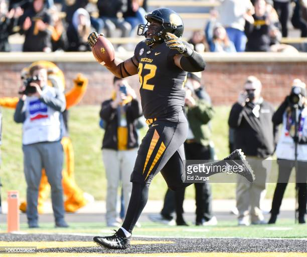 Tight end Daniel Parker of the Missouri Tigers runs for a touchdown against the Vanderbilt Commodores in the third quarter at Memorial Stadium on...