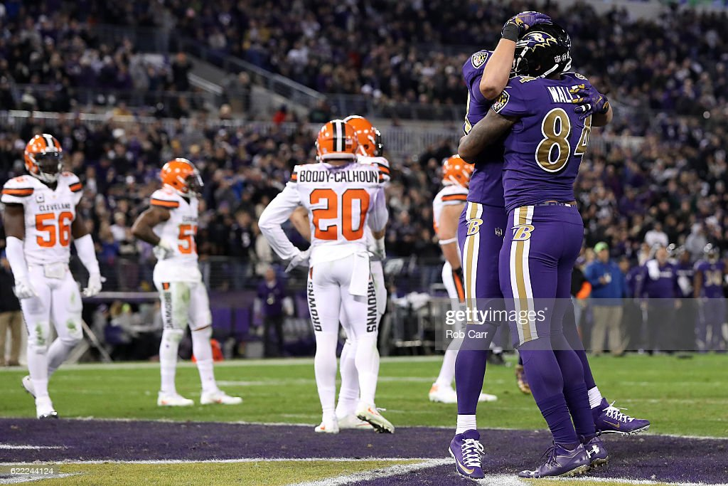 Tight end Darren Waller #84 of the Baltimore Ravens celebrates with teammate fullback Kyle Juszczyk #44 after scoring a third quarter touchdown against the Cleveland Browns at M&T Bank Stadium on November 10, 2016 in Baltimore, Maryland.