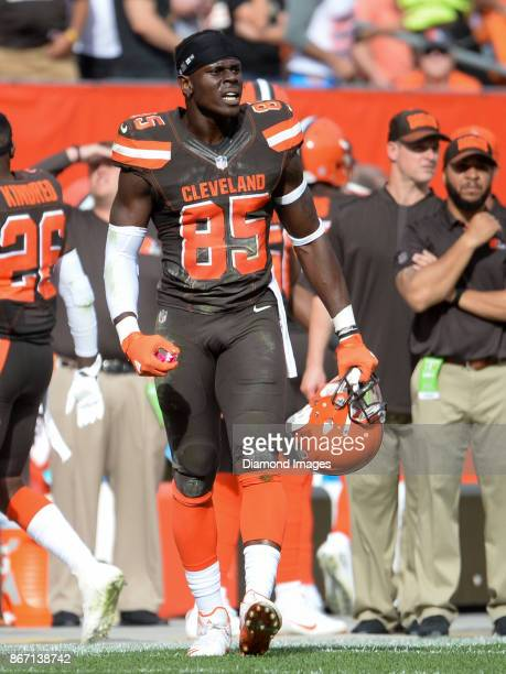 Tight end David Njoku of the Cleveland Browns argues a call on an incomplete pass in the third quarter of a game on October 22 2017 against the...