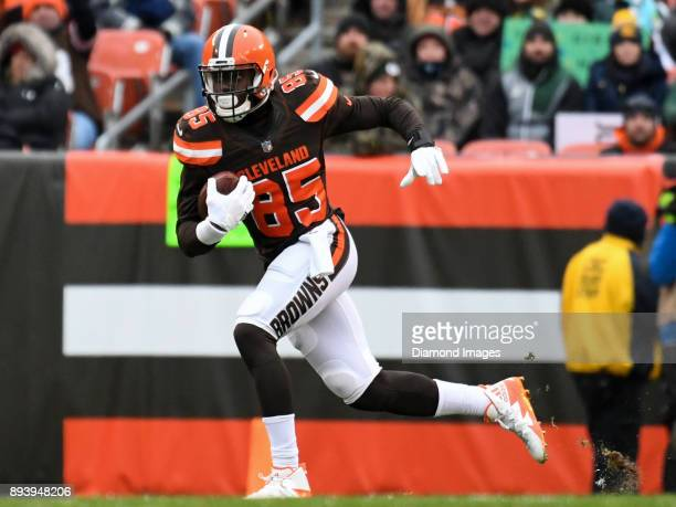 Tight end David Njoku of the Cleveland Browns carries the ball downfield in the second quarter of a game on December 10 2017 against the Green Bay...