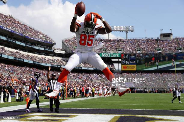 Tight end David Njoku of the Cleveland Browns celebrates after catching a touchdown pass against the Baltimore Ravens at MT Bank Stadium on September...