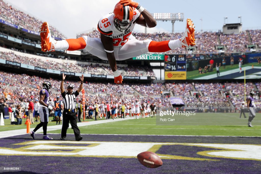 Tight end David Njoku #85 of the Cleveland Browns celebrates his touchdown against the Baltimore Ravens in the second quarter at M&T Bank Stadium on September 17, 2017 in Baltimore, Maryland.