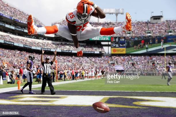 Tight end David Njoku of the Cleveland Browns celebrates his touchdown against the Baltimore Ravens in the second quarter at M&T Bank Stadium on...