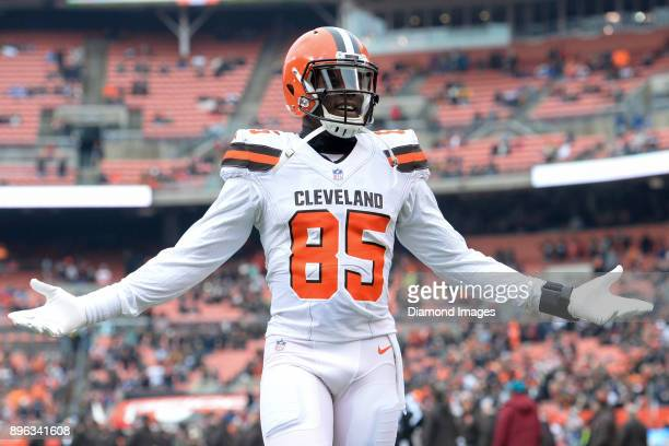 Tight end David Njoku of the Cleveland Browns gestures toward the crowd as he walks onto the field prior to a game on December 17 2017 against the...