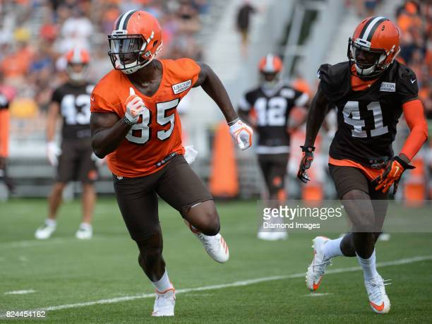 Tight end David Njoku of the Cleveland Browns runs a route during a training camp practice on July 28 2017 at the Cleveland Browns training facility...