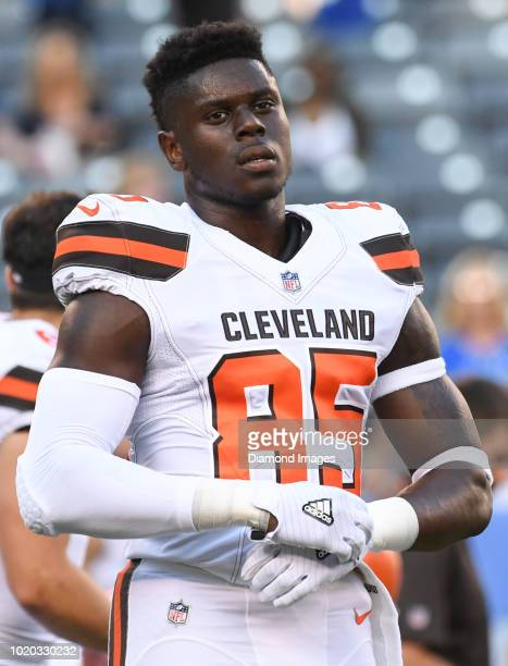 Tight end David Njoku of the Cleveland Browns stands on the field prior to a preseason game against the New York Giants at MetLife Stadium in East...