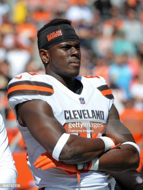 Tight end David Njoku of the Cleveland Browns stands on the sideline prior to a game on October 1 2017 against the Cincinnati Bengals at FirstEnergy...