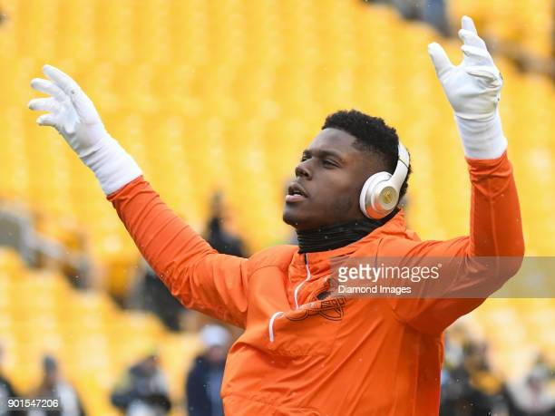 Tight end David Njoku of the Cleveland Browns stretches on the field prior to a game on December 31 2017 against the Pittsburgh Steelers at Heinz...