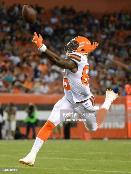 Tight end David Njoku of the Cleveland Browns struggles to catch a pass in the third quarter of a preseason game on April 27 2017 against the New...