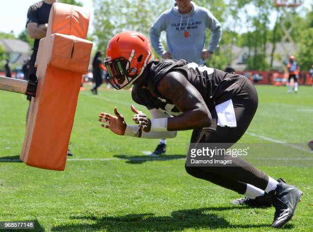 Tight end David Njoku of the Cleveland Browns takes part in a drill during an OTA practice at the Cleveland Browns training facility in Berea Ohio
