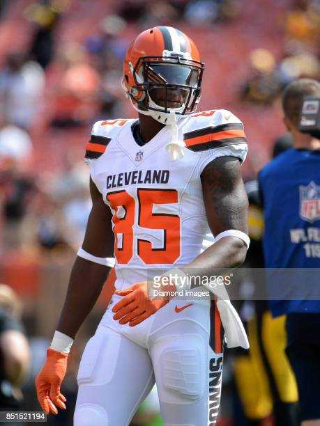 Tight end David Njoku of the Cleveland Browns walks onto the field prior to a game on September 10 2017 against the Pittsburgh Steelers at...