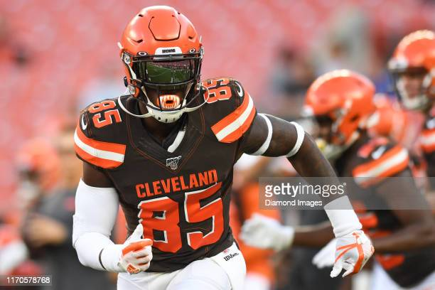 Tight end David Njoku of the Cleveland Browns warms up prior to a preseason game against the Detroit Lions on August 29 2019 at FirstEnergy Stadium...