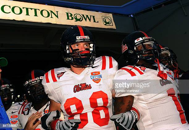 Tight end David Traxler and Kendrick Lewis of the Mississippi Rebels before a game against the Texas Tech Red Raiders during the AT&T Cotton Bowl on...
