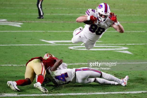 Tight end Dawson Knox of the Buffalo Bills dives for a touchdown during the second quarter of a game against the San Francisco 49ers at State Farm...