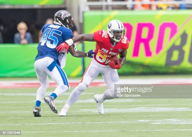 tight end Delanie Walker 82 catches a passDuring the NFL Pro Bowl match between the AFC NFC on January 28 2018 at Camping World Stadium in Orlando FL