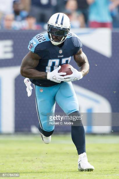 Tight end Delanie Walker of the Tennessee Titans carries the ball during a NFL game against the Baltimore Ravens at Nissan Stadium on November 5 2017...