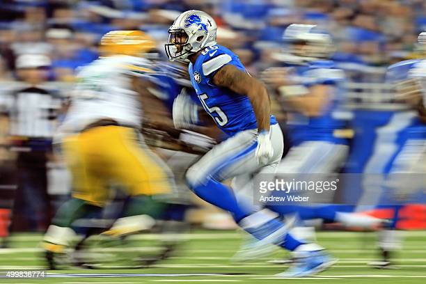 Tight end Eric Ebron of the Detroit Lions caries the ball during the first quarter against the Green Bay Packers at Ford Field on December 3 2015 in...
