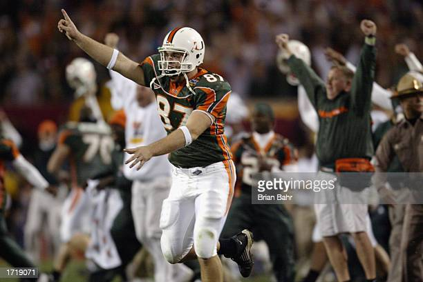 Tight end Eric Winston of the University of Miami Hurricanes celebrates during the BCS Championship game against the Ohio State Buckeyes in the...