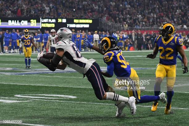 Tight end for the New England Patriots Rob Gronkowski catches the ball during Super Bowl LIII between the New England Patriots and the Los Angeles...