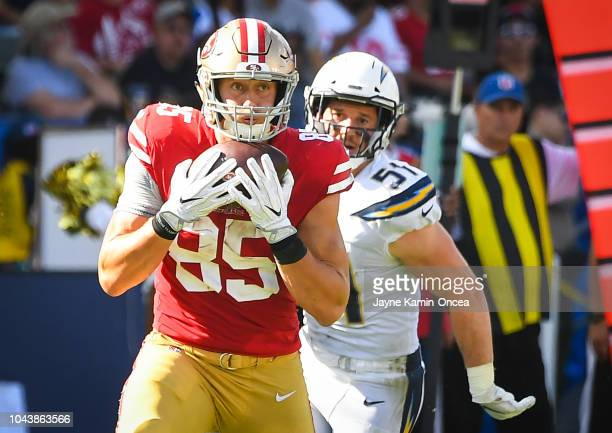 Tight end George Kittle of the San Francisco 49ers catches the ball for a touchdown against the Los Angeles Chargers at StubHub Center on September...