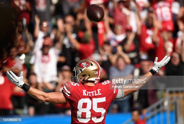 Tight end George Kittle of the San Francisco 49ers celebrates his touchdown in the third quarter against the Los Angeles Chargers at StubHub Center...
