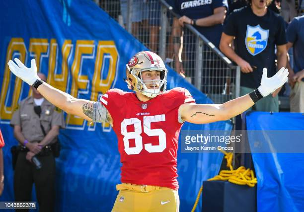 Tight end George Kittle of the San Francisco 49ers celebrates his touchdown against the Los Angeles Chargers at StubHub Center on September 30 2018...