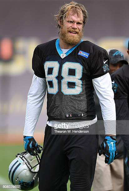 Tight End Greg Olsen of the Carolina Panthers looks on during practice prior to Super Bowl 50 at San Jose State University on February 3 2016 in San...