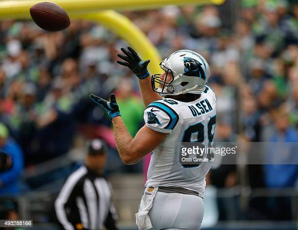Tight end Greg Olsen of the Carolina Panthers makes a catch for the game winning touchdoown against the Seattle Seahawks at CenturyLink Field on...