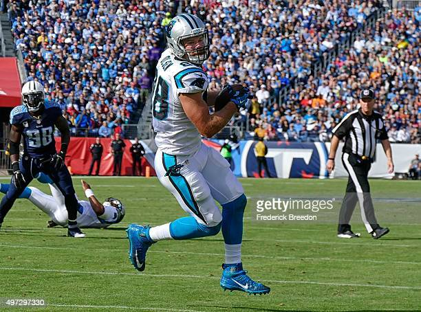 Tight end Greg Olsen of the Carolina Panthers makes a reception against the Tennessee Titans at Nissan Stadium on November 15 2015 in Nashville...