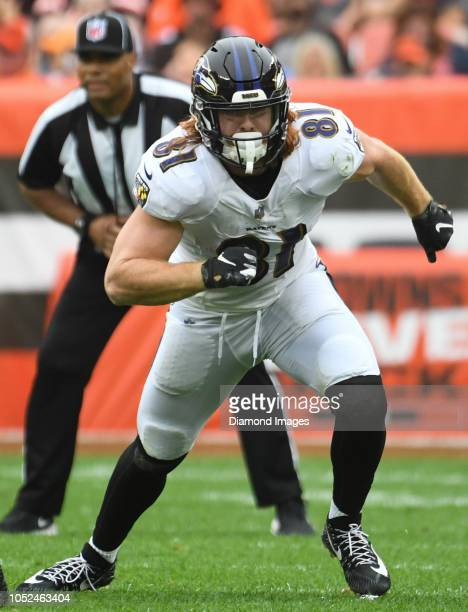 Tight end Hayden Hurst of the Baltimore Ravens runs a route in the second quarter of a game against the Cleveland Browns on October 7 2018 at...