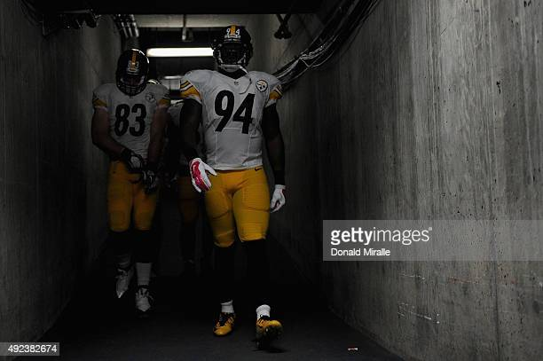 Tight end Heath Miller of the Pittsburgh Steelers and inside linebacker Lawrence Timmons of the Pittsburgh Steelers prepare to play the San Diego...