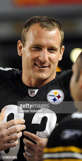 Tight end Heath Miller of the Pittsburgh Steelers looks on from the sideline during a preseason game against the Detroit Lions at Heinz Field on...