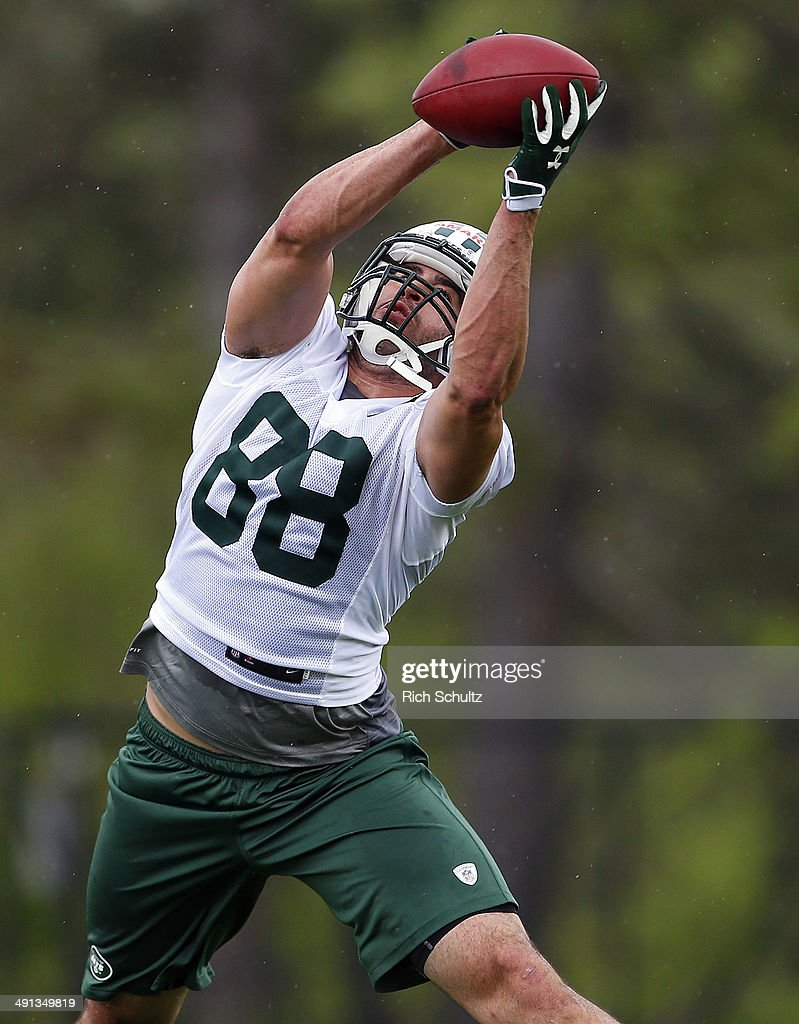 Tight End Jace Amaro #88 of the New York Jets makes a catch during the first day of rookie minicamp on May 16, 2014 in Florham Park, New Jersey.